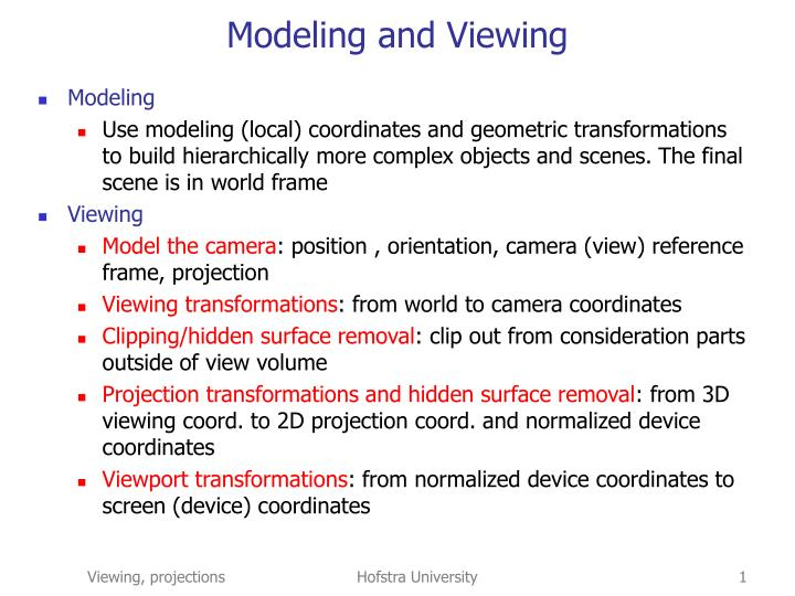 modeling and viewing n.