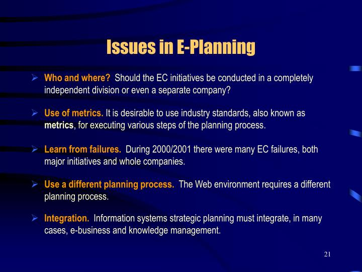 Issues in E-Planning