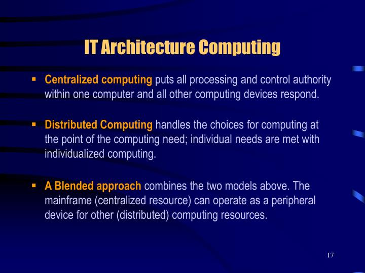 IT Architecture Computing