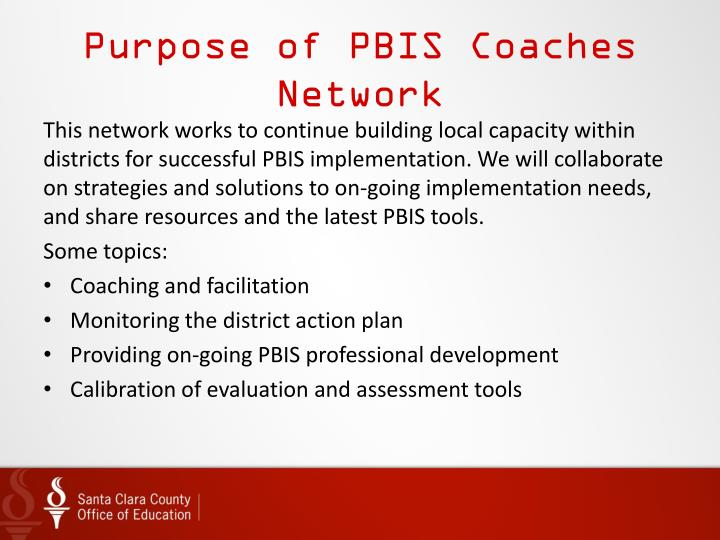 Purpose of PBIS Coaches Network