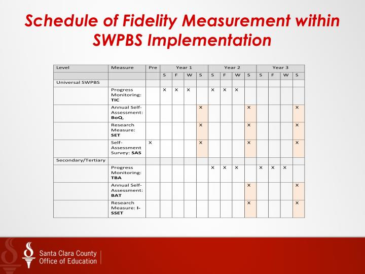 Schedule of Fidelity Measurement within