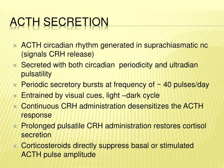 ACTH circadian rhythm generated in suprachiasmatic nc (signals CRH release)
