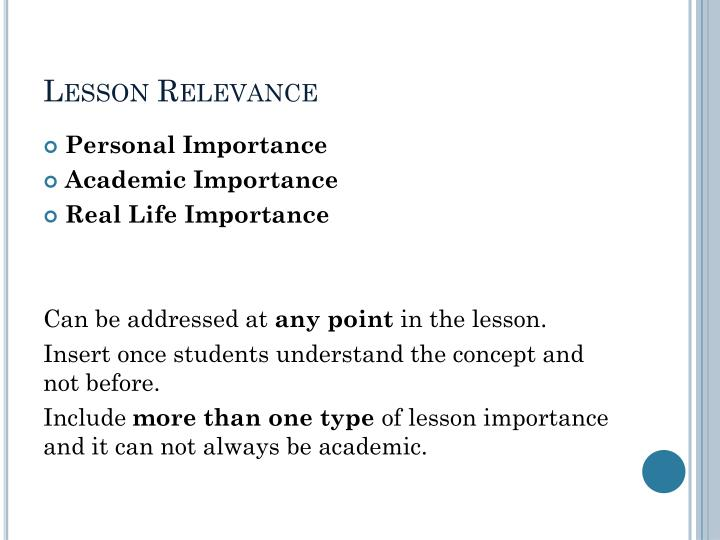Lesson Relevance