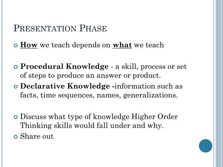 Presentation phase