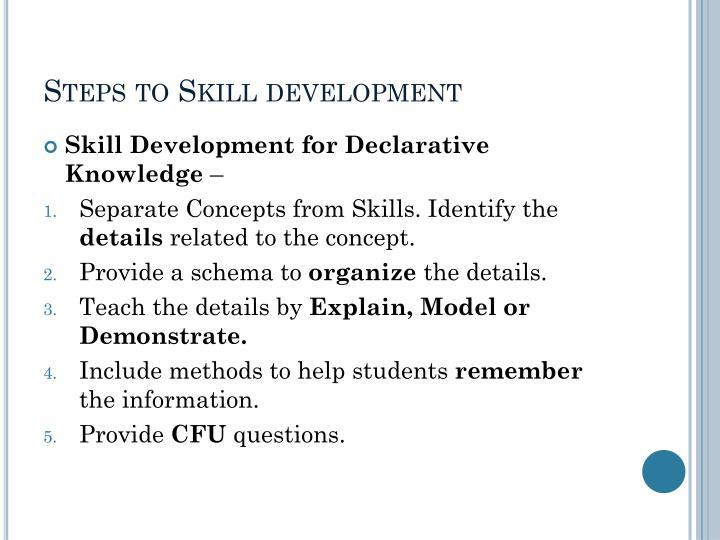 Steps to Skill development