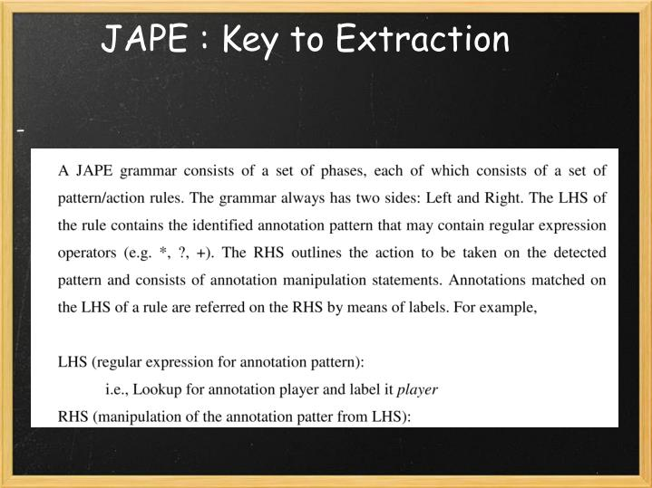 JAPE : Key to Extraction