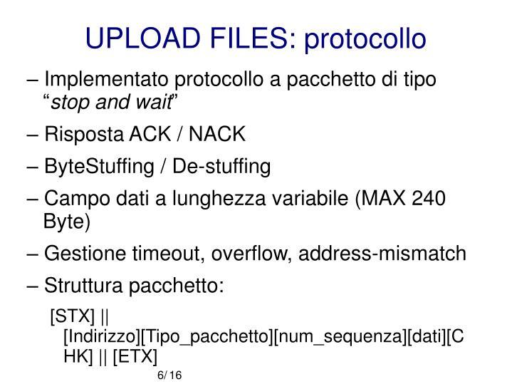 UPLOAD FILES: protocollo