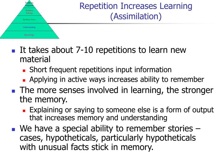 Repetition Increases Learning (Assimilation)