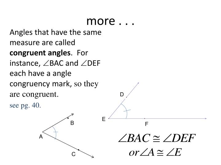 Angles that have the same measure are called