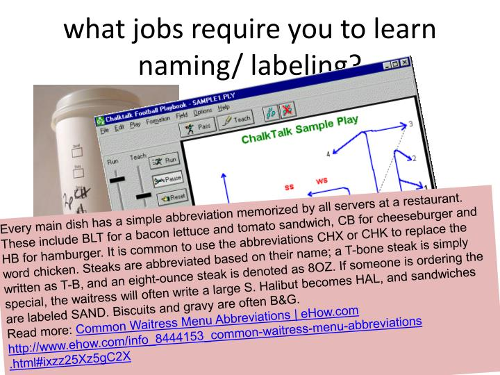 what jobs require you to learn naming/ labeling?