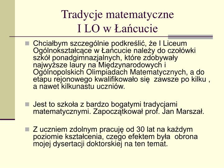 Tradycje matematyczne