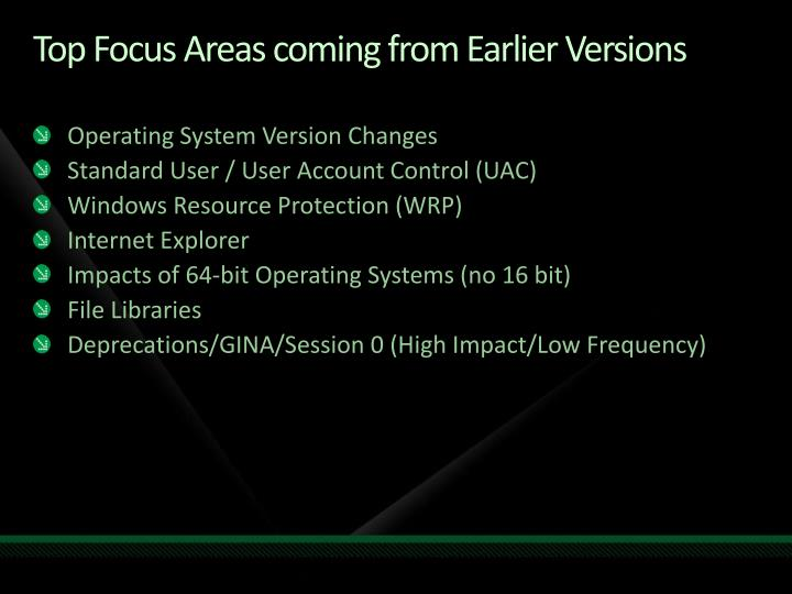 Top Focus Areas coming from Earlier Versions