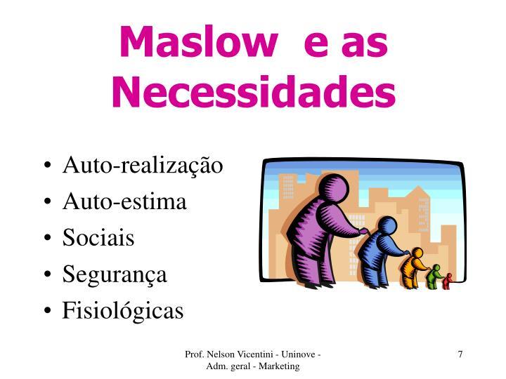 Maslow  e as Necessidades