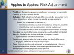 apples to apples risk adjustment