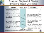 example single adult shelter system s impact over time