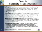 example successful housing outcome