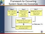 framework for converting system goals into outcomes