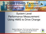 system level performance measurement using hmis to drive change