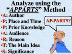 analyze using the apparts method
