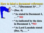 how to label a document reference