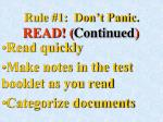 rule 1 don t panic read continued