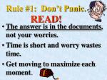 rule 1 don t panic read