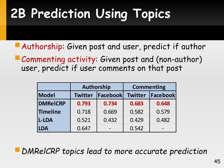 2B Prediction Using Topics