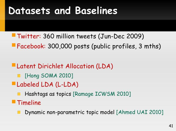 Datasets and Baselines