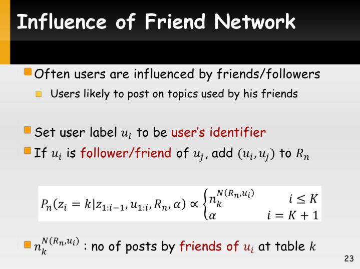 Influence of Friend Network