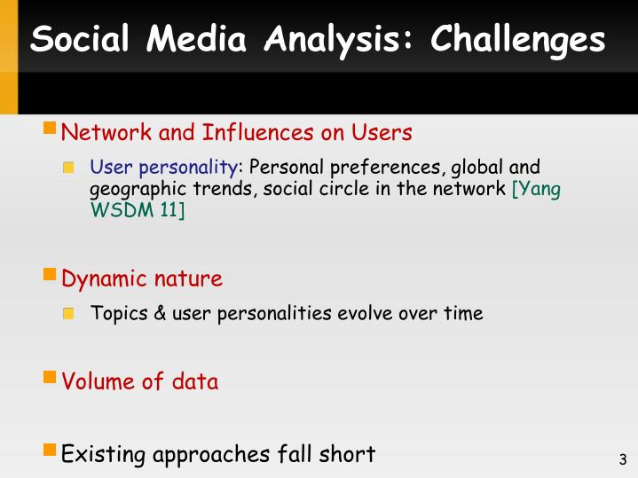 Social media analysis challenges