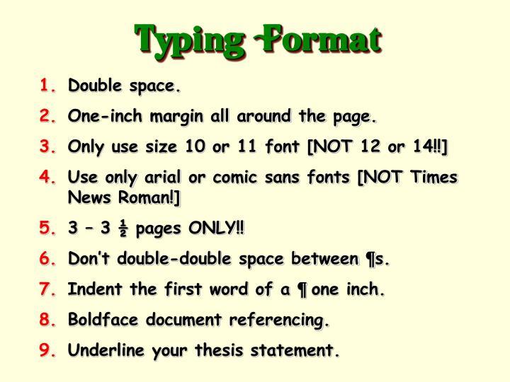 Typing  Format
