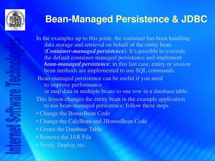 Bean managed persistence jdbc