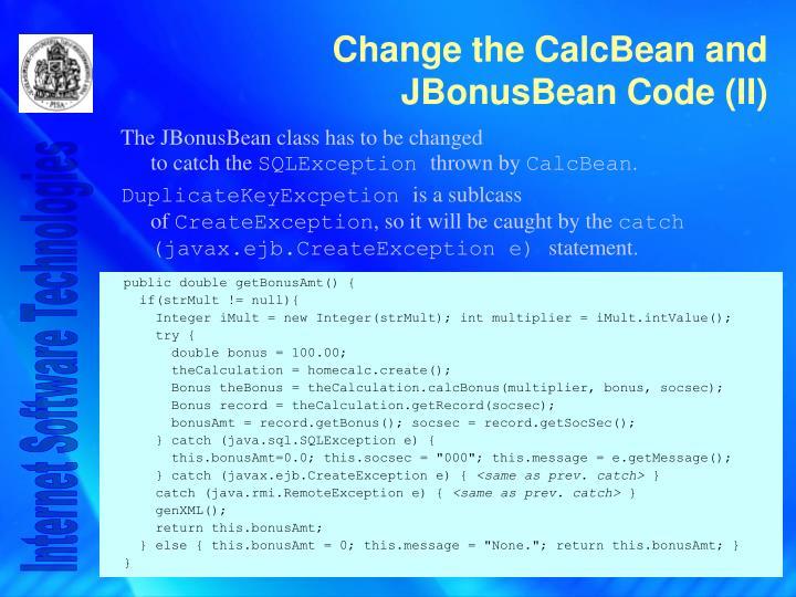 The JBonusBean class has to be changed