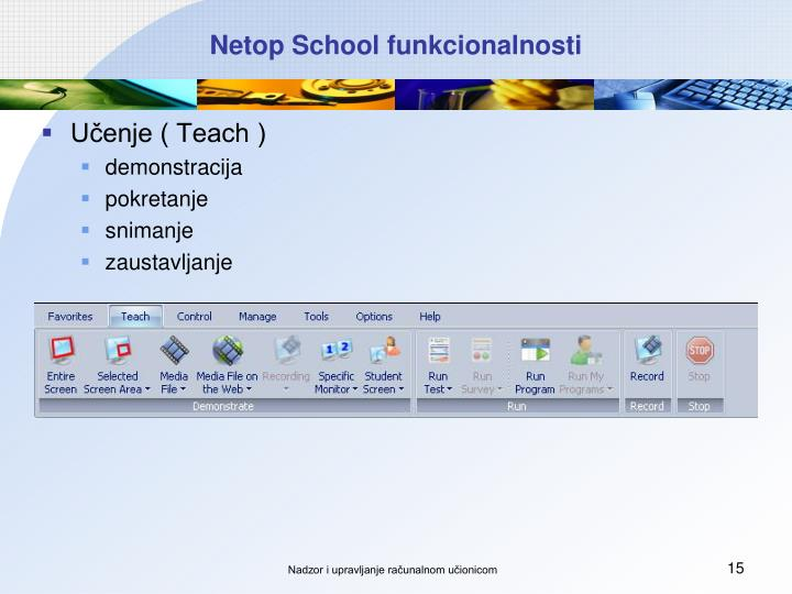 Netop School funkcionalnosti