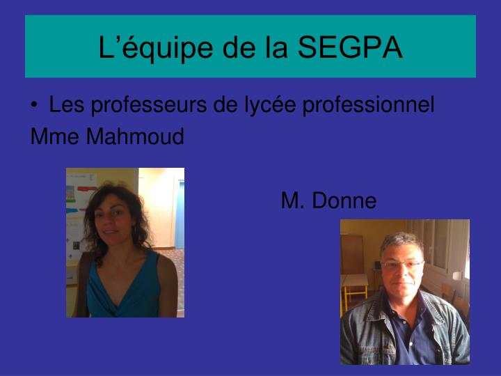 L'équipe de la SEGPA