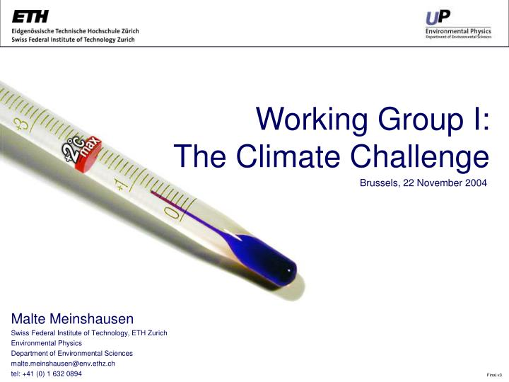 working group i the climate challenge n.