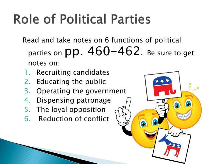 the role of political parties The role of political parties in constitutionalising governance by mutakha kangu 06-11-2001 a paper presented at the constitution of kenya review workshop for political parties at utalii college 5th - 6th november 2001.