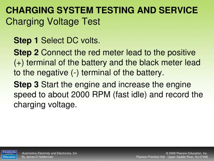 Charging system testing and service charging voltage test