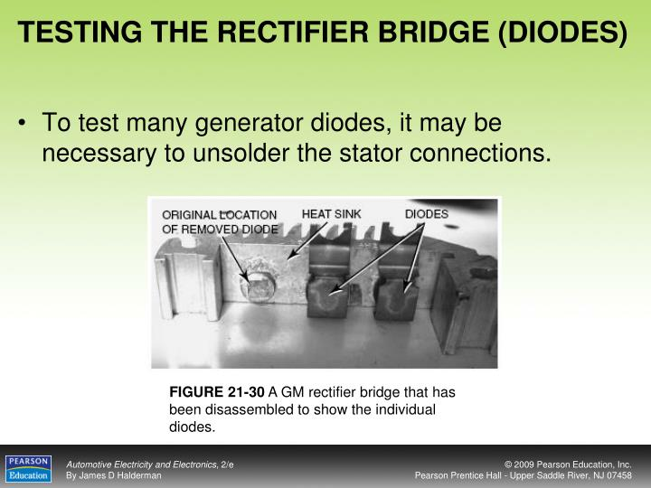 TESTING THE RECTIFIER BRIDGE (DIODES)