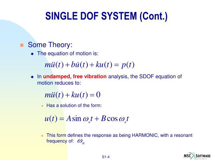 SINGLE DOF SYSTEM (Cont.)