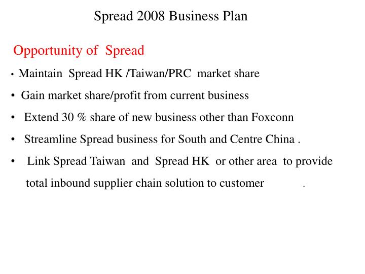 PPT - Spread 2008 Business Plan PowerPoint Presentation - ID