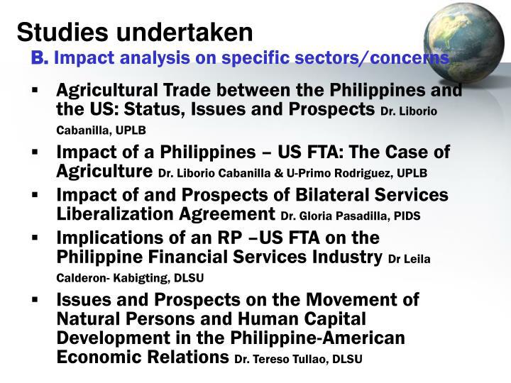 Studies undertaken