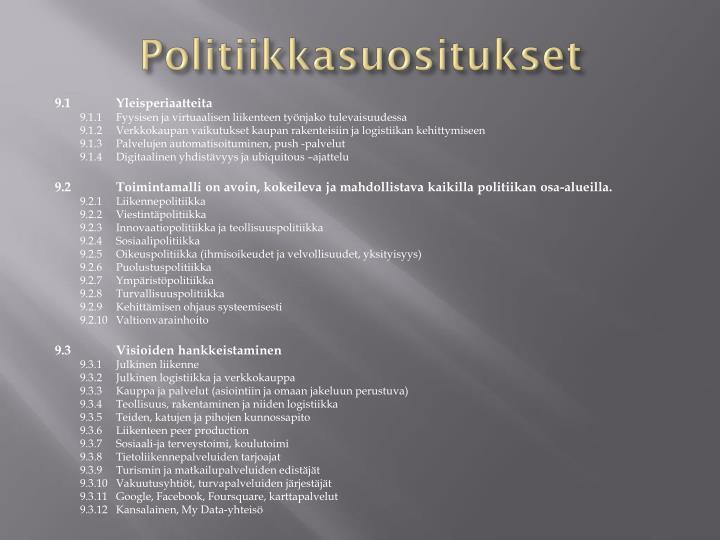 Politiikkasuositukset