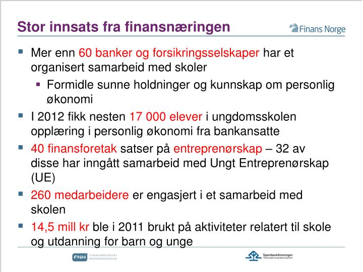 Stor innsats fra finansnæringen