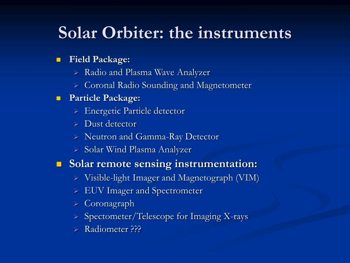 Solar Orbiter: the instruments