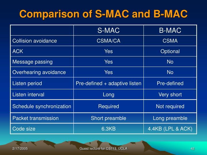 Comparison of S-MAC and B-MAC