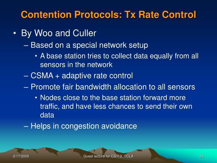 Contention Protocols: Tx Rate Control