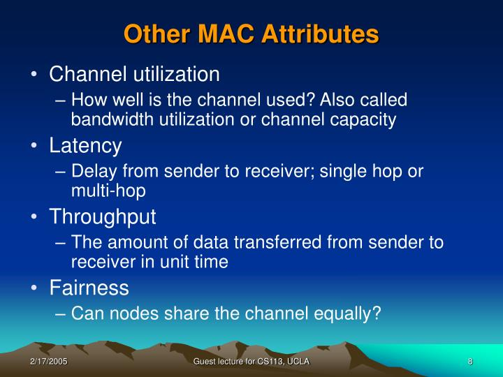 Other MAC Attributes