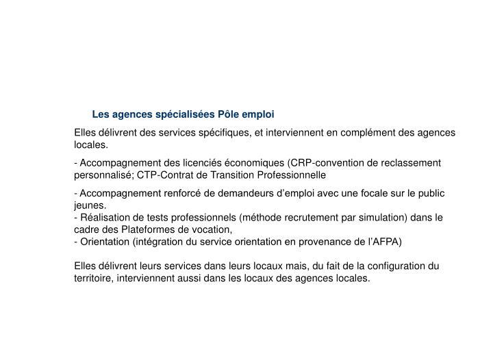 Les agences et les agences spécialisées