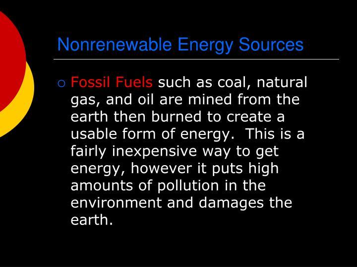 Nonrenewable Energy Sources